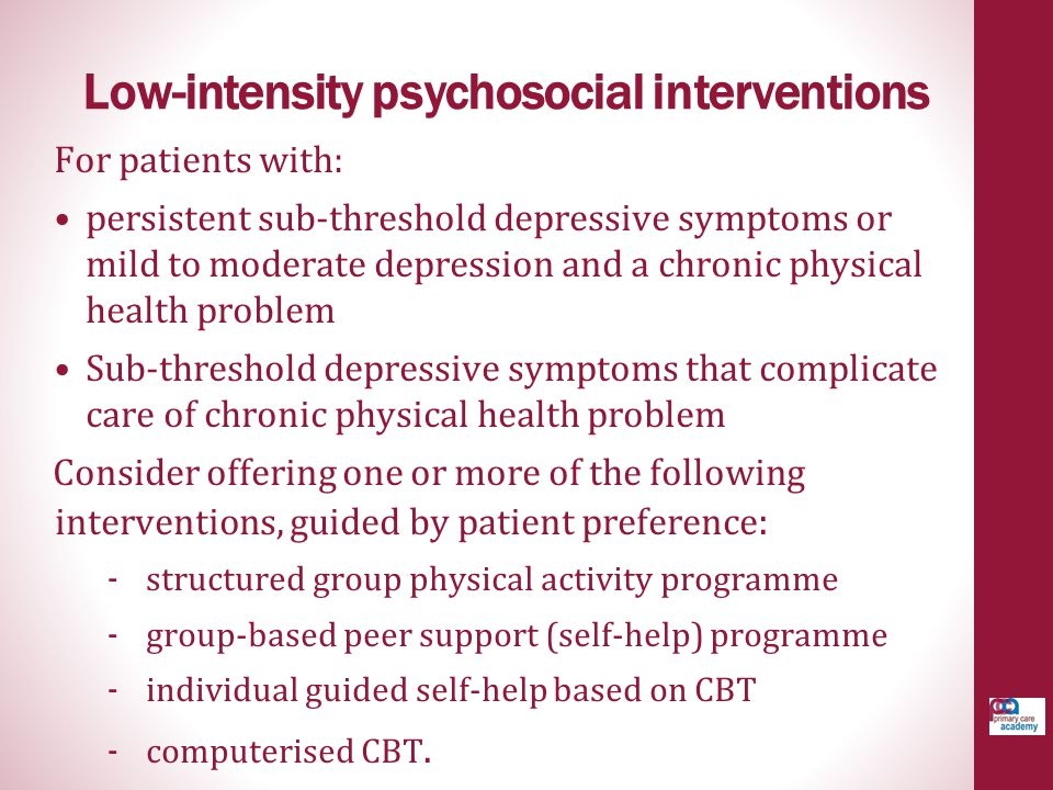 Low-intensity psychosocial interventions