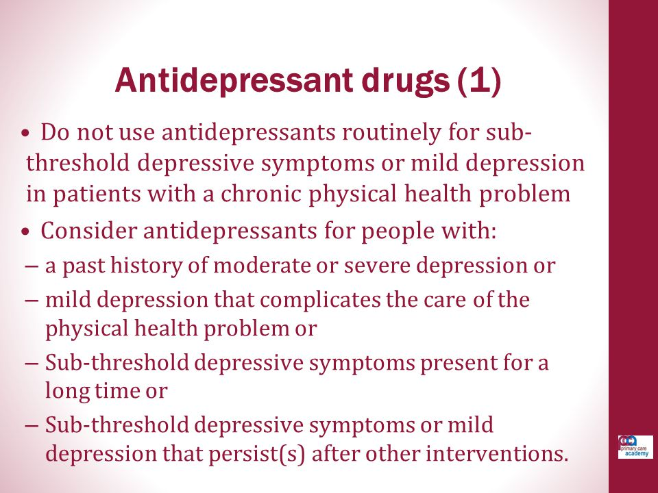 Antidepressant drugs (1)
