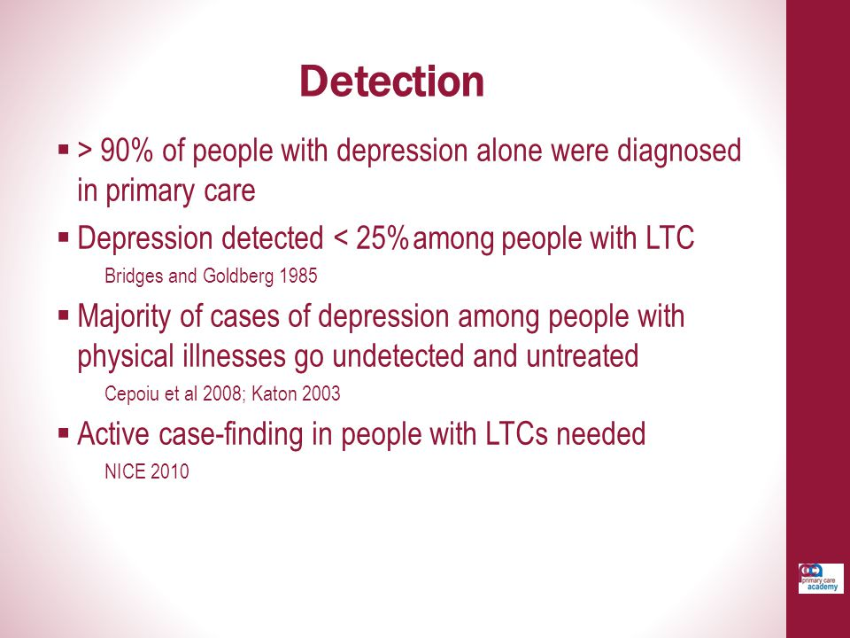 Detection > 90% of people with depression alone were diagnosed in primary care. Depression detected < 25%among people with LTC.