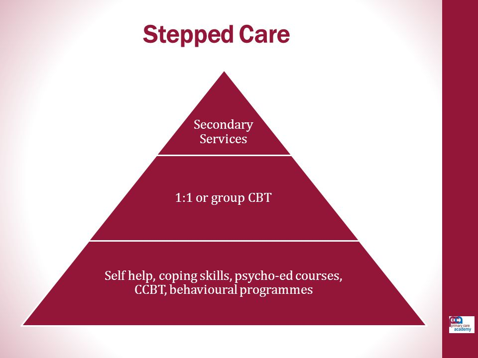 Stepped Care Secondary Services 1:1 or group CBT