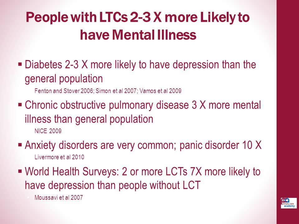People with LTCs 2-3 X more Likely to have Mental Illness