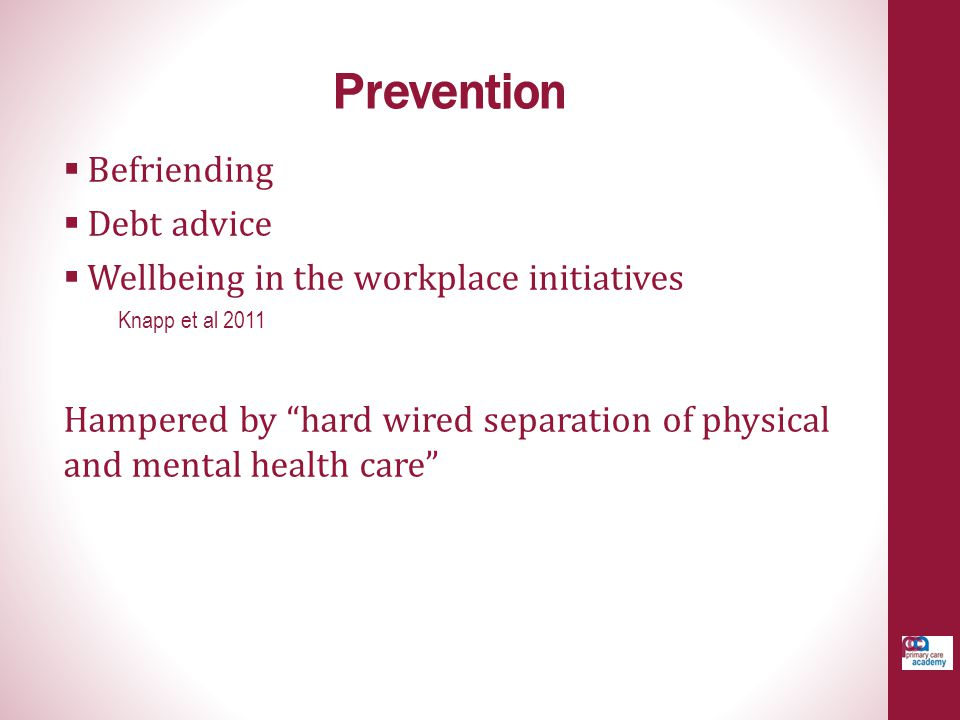 Prevention Befriending Debt advice