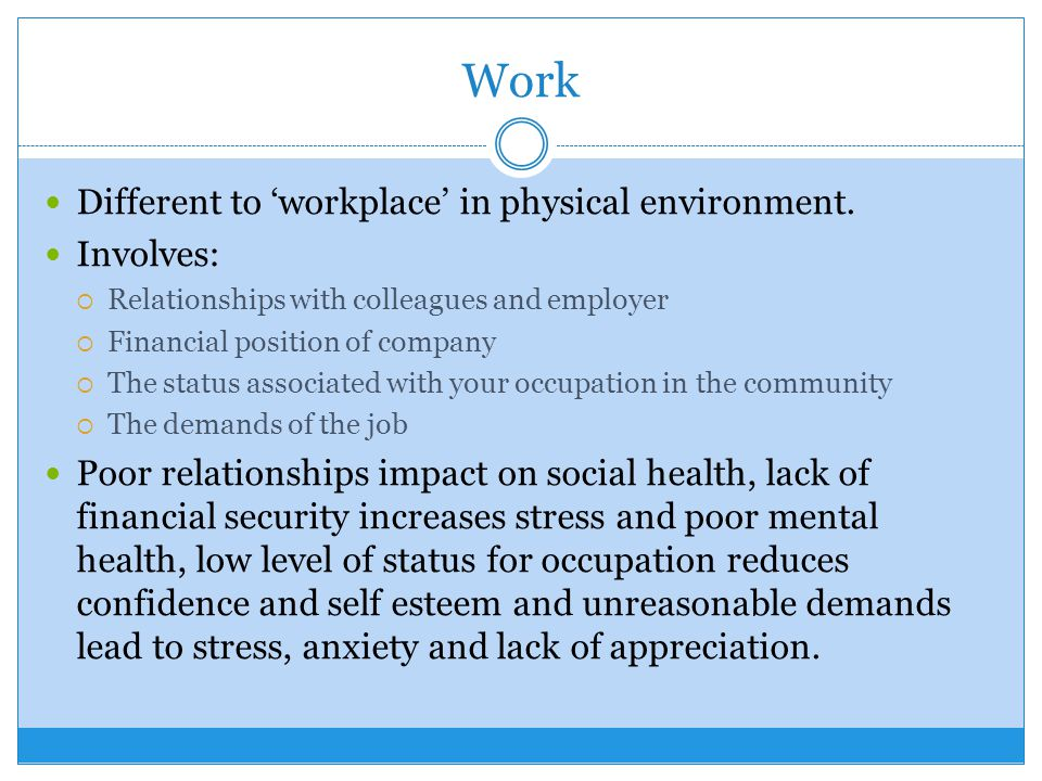 Work Different to 'workplace' in physical environment. Involves: