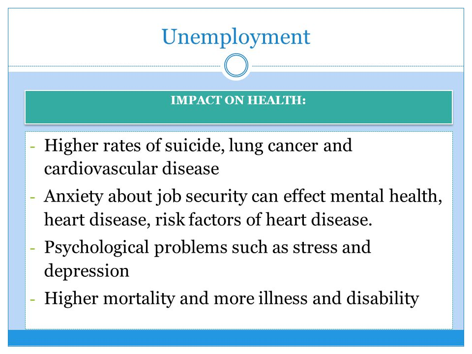 Unemployment IMPACT ON HEALTH: Higher rates of suicide, lung cancer and cardiovascular disease.