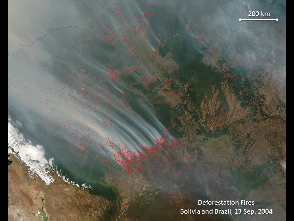 200 km Deforestation Fires Bolivia and Brazil, 13 Sep. 2004