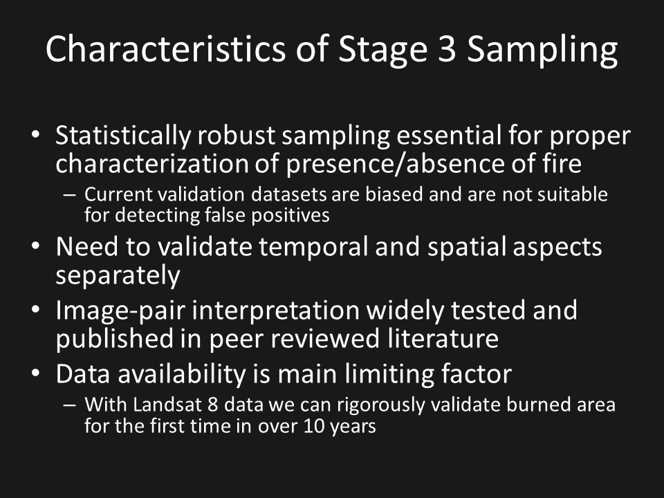 Characteristics of Stage 3 Sampling