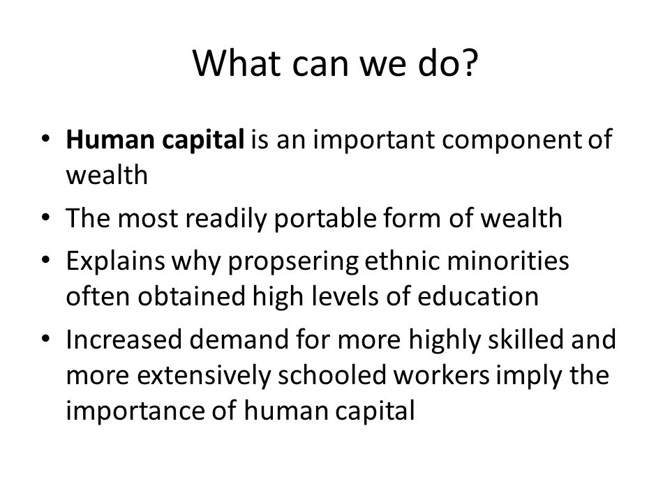 What can we do Human capital is an important component of wealth
