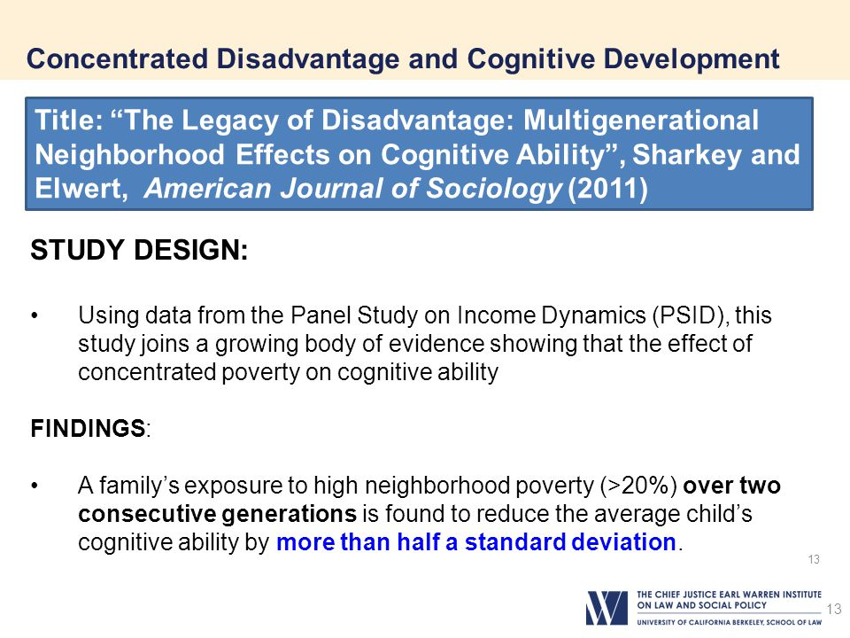 Concentrated Disadvantage and Cognitive Development