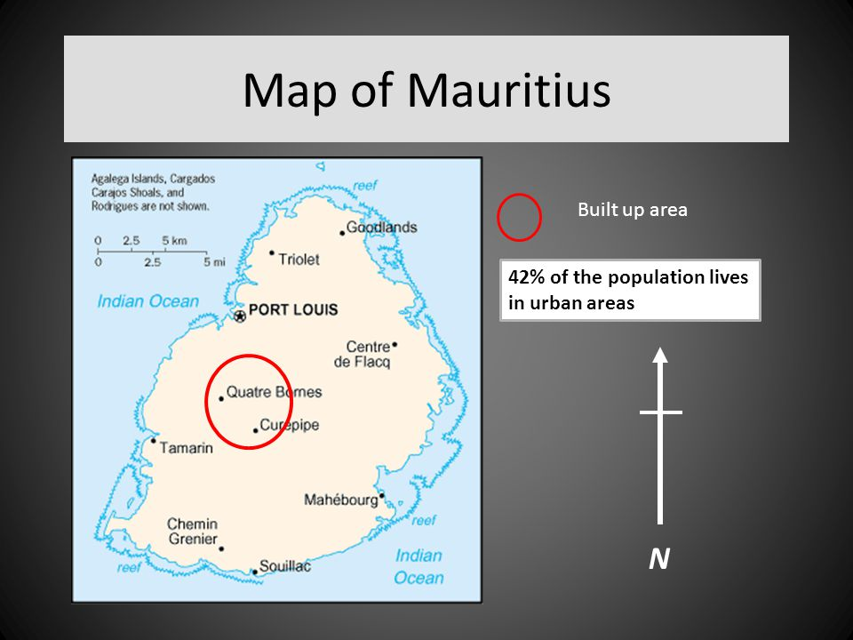 Map of Mauritius N Built up area