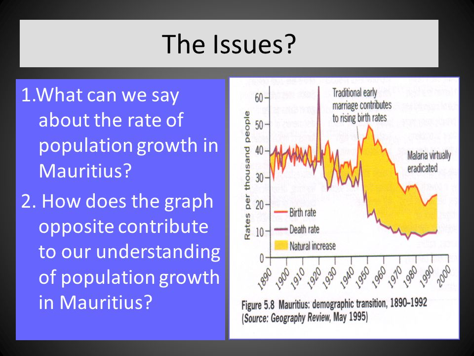 The Issues 1.What can we say about the rate of population growth in Mauritius