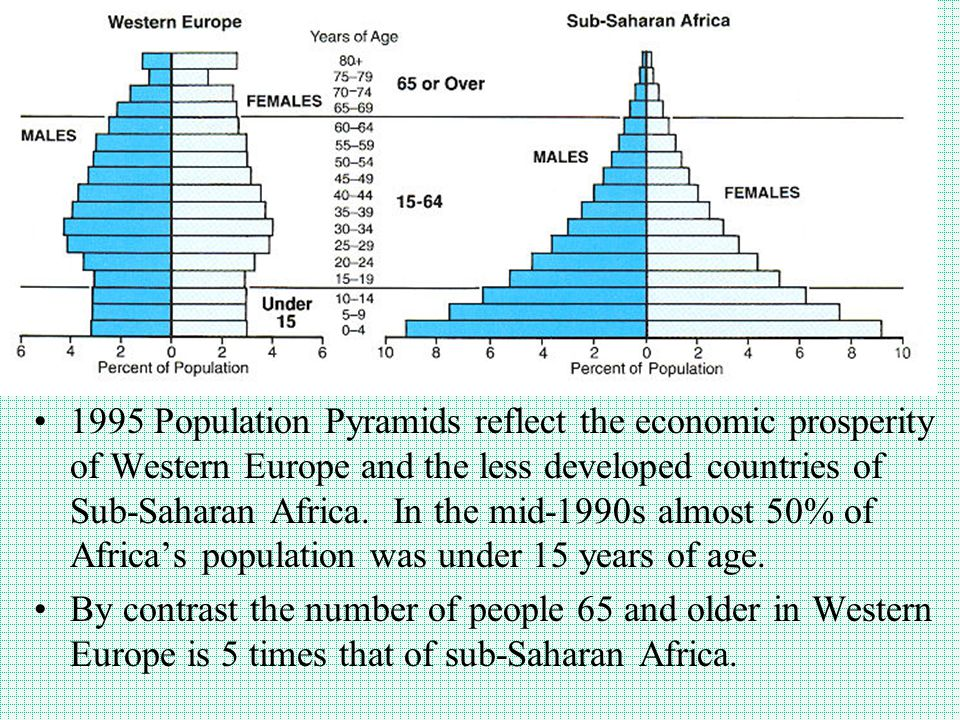 1995 Population Pyramids reflect the economic prosperity of Western Europe and the less developed countries of Sub-Saharan Africa. In the mid-1990s almost 50% of Africa's population was under 15 years of age.