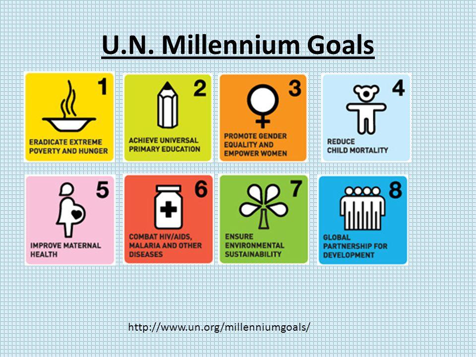 U.N. Millennium Goals http://www.un.org/millenniumgoals/