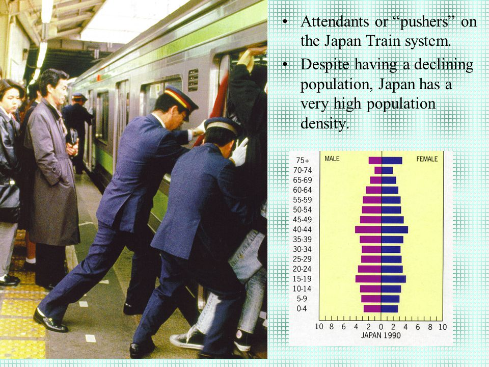 Attendants or pushers on the Japan Train system.
