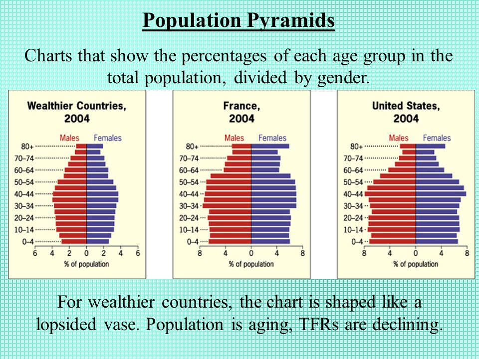 Population Pyramids Charts that show the percentages of each age group in the total population, divided by gender.