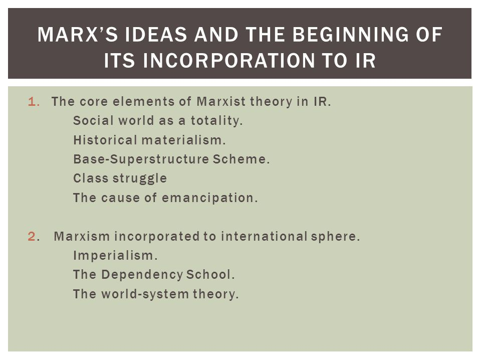Marx's ideas and the beginning of its incorporation to ir
