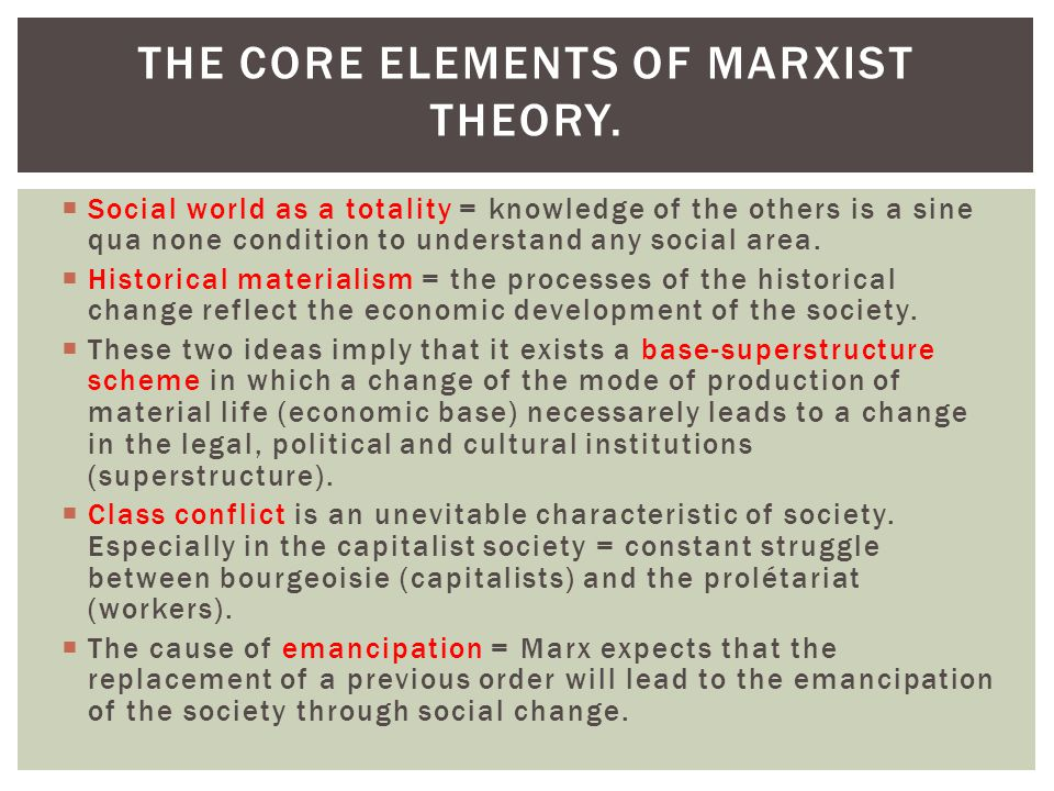 The core elements of Marxist theory.
