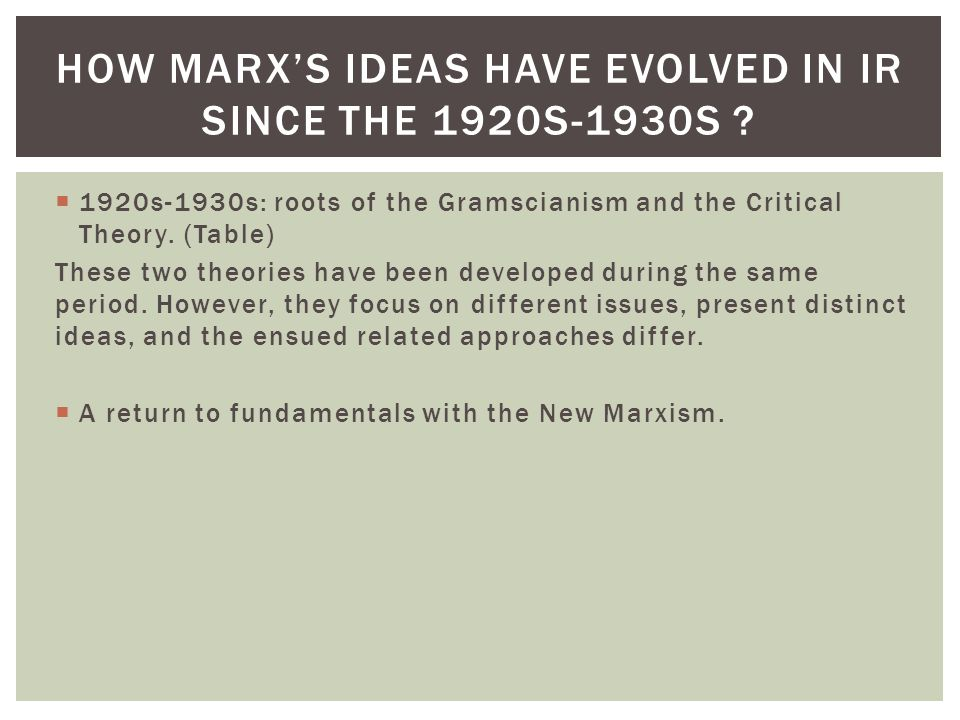 How marx's ideas have evolved in ir since the 1920s-1930s