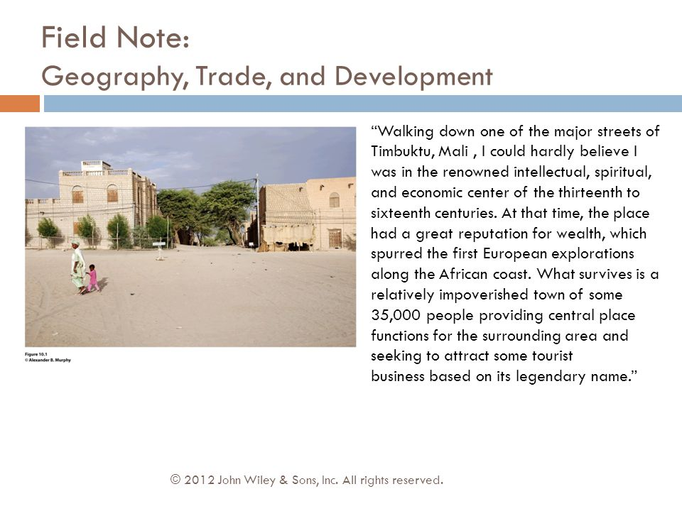 Field Note: Geography, Trade, and Development