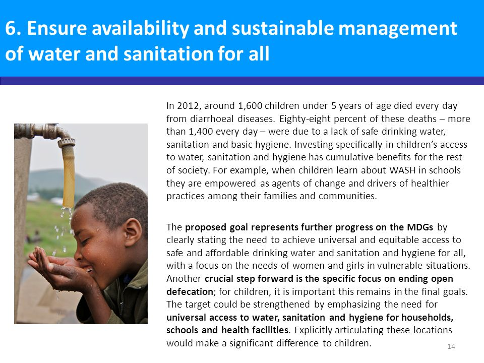 6. Ensure availability and sustainable management of water and sanitation for all