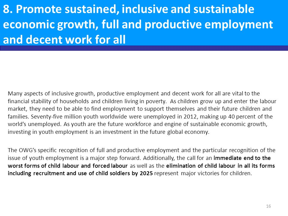 8. Promote sustained, inclusive and sustainable economic growth, full and productive employment and decent work for all