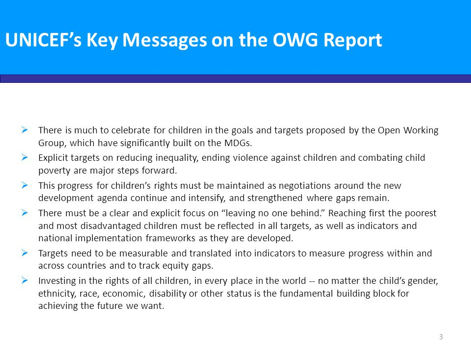 UNICEF's Key Messages on the OWG Report