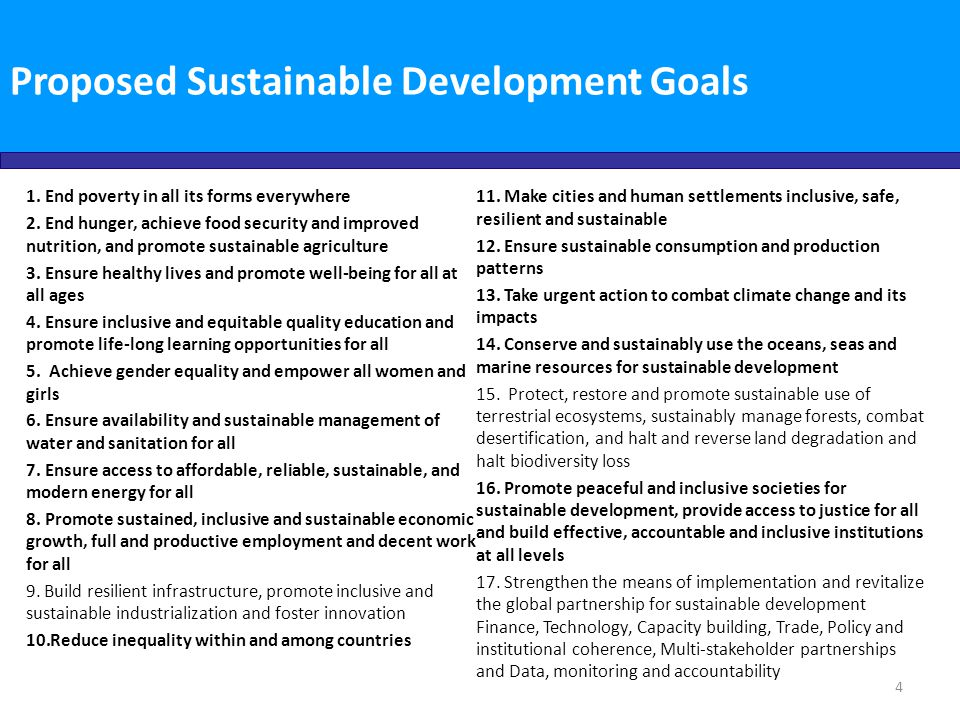 Proposed Sustainable Development Goals
