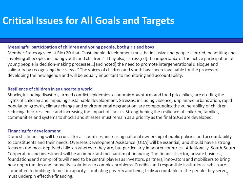 Critical Issues for All Goals and Targets