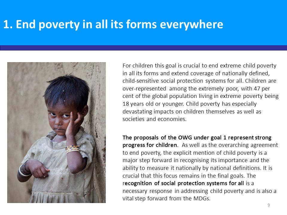 1. End poverty in all its forms everywhere