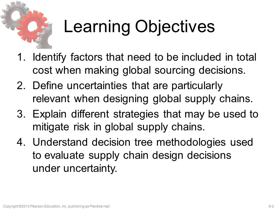 Learning Objectives Identify factors that need to be included in total cost when making global sourcing decisions.