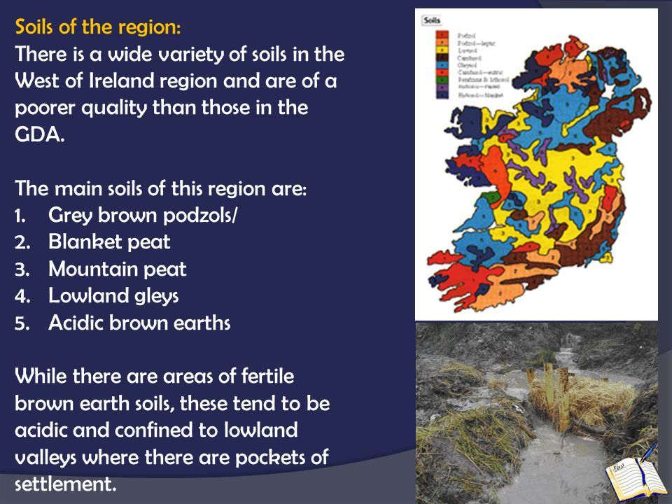 Soils of the region: There is a wide variety of soils in the West of Ireland region and are of a poorer quality than those in the GDA.