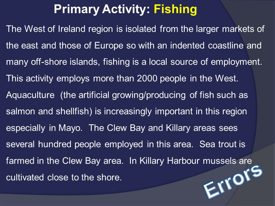 Errors Primary Activity: Fishing