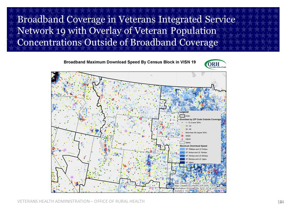 Broadband Coverage in Veterans Integrated Service Network 19 with Overlay of Veteran Population Concentrations Outside of Broadband Coverage