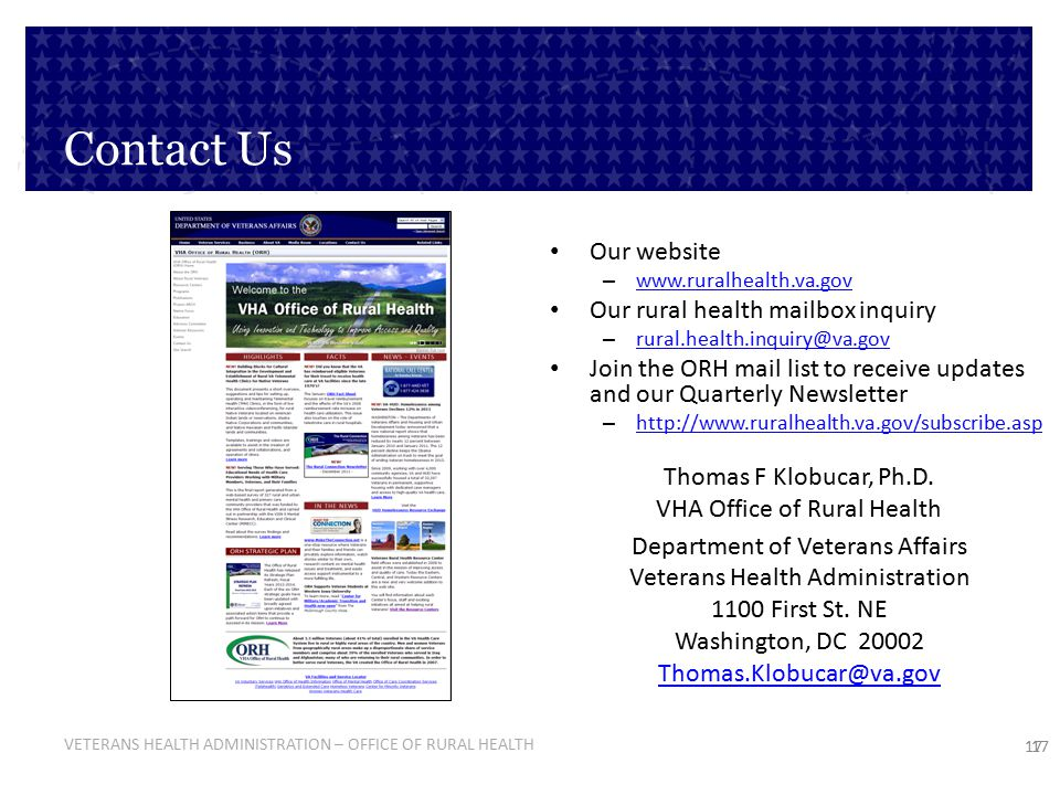 Contact Us Our website Our rural health mailbox inquiry
