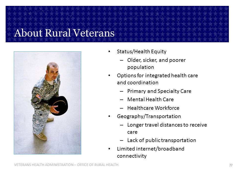 About Rural Veterans Status/Health Equity