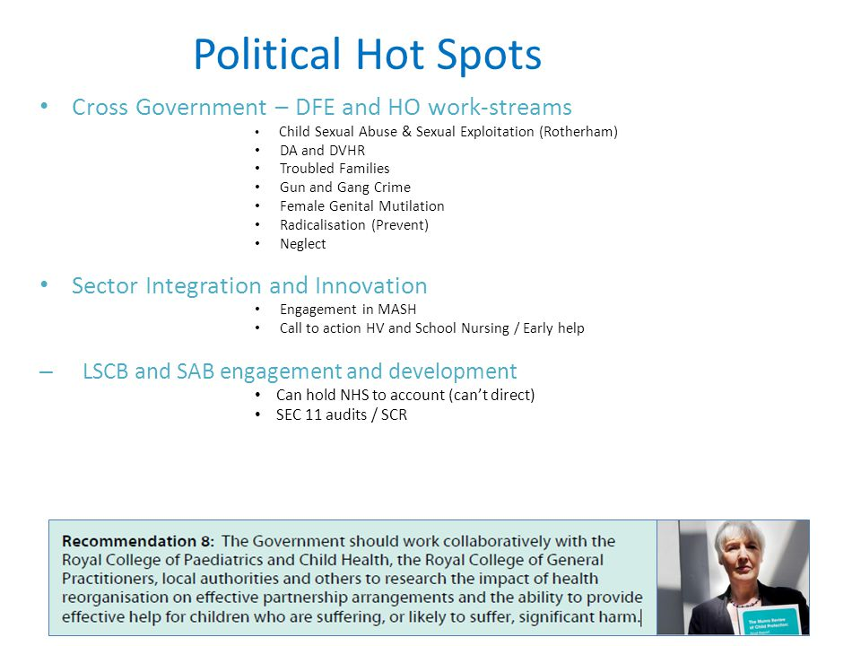 Political Hot Spots Cross Government – DFE and HO work-streams