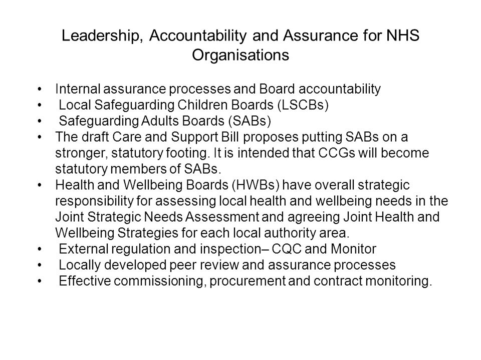 Leadership, Accountability and Assurance for NHS Organisations