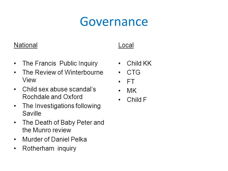 Governance National The Francis Public Inquiry