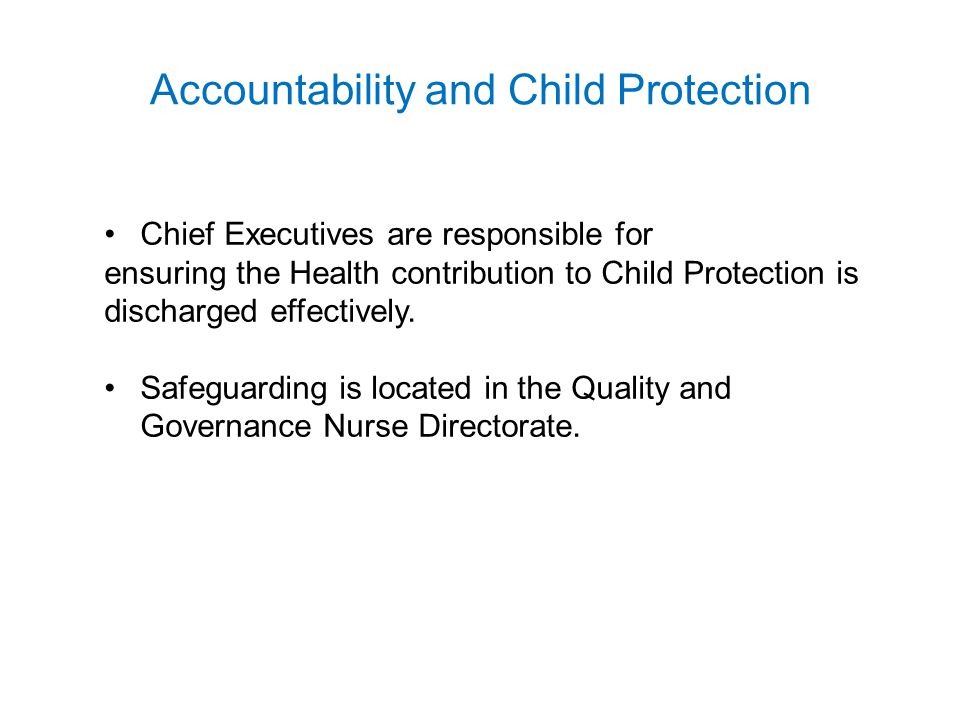 Accountability and Child Protection