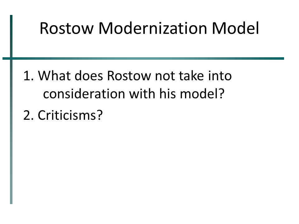 Rostow Modernization Model