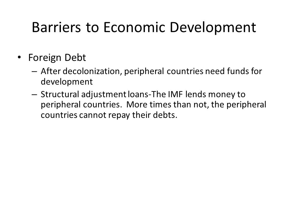 Barriers to Economic Development