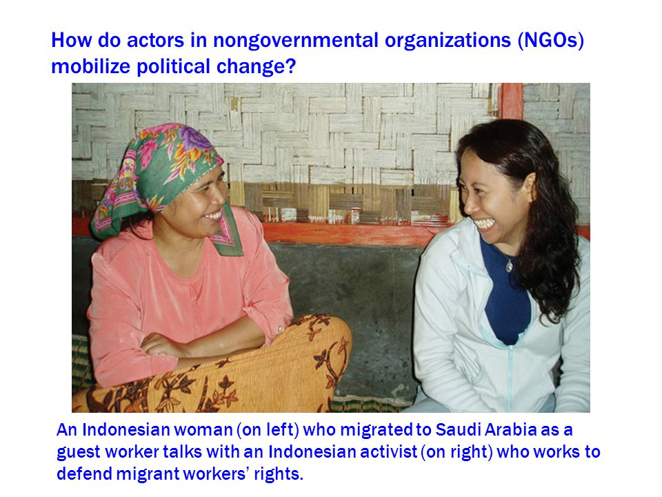 How do actors in nongovernmental organizations (NGOs) mobilize political change