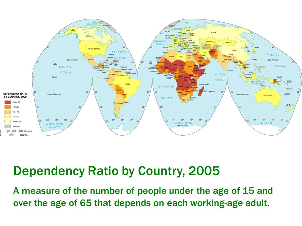 Dependency Ratio by Country, 2005