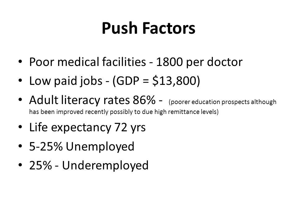 Push Factors Poor medical facilities - 1800 per doctor