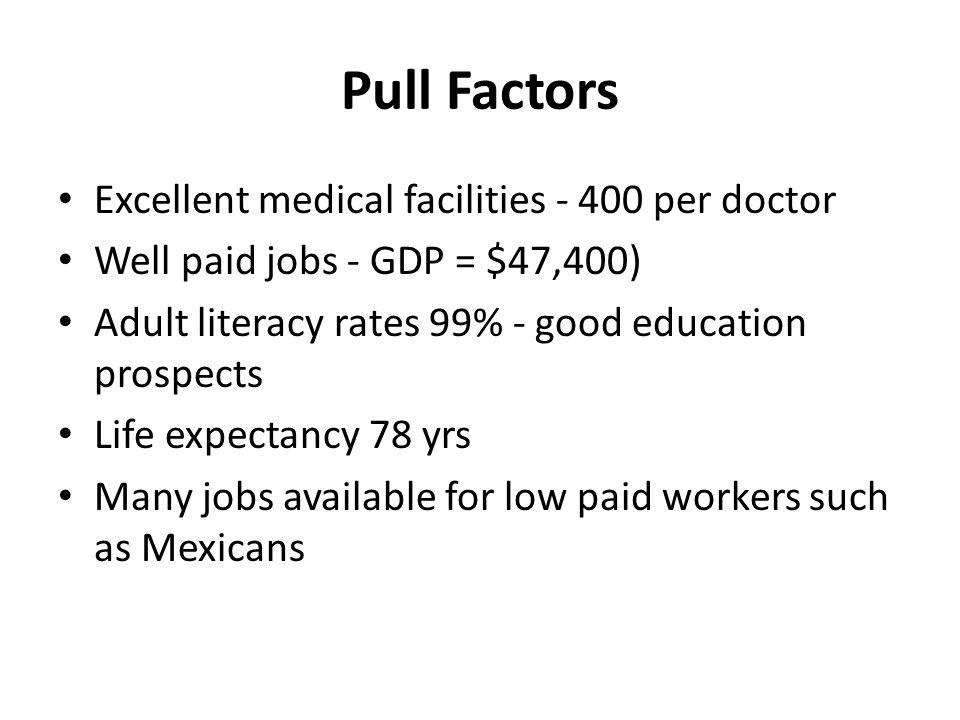 Pull Factors Excellent medical facilities - 400 per doctor