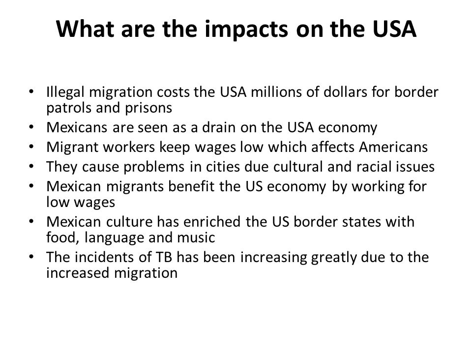What are the impacts on the USA