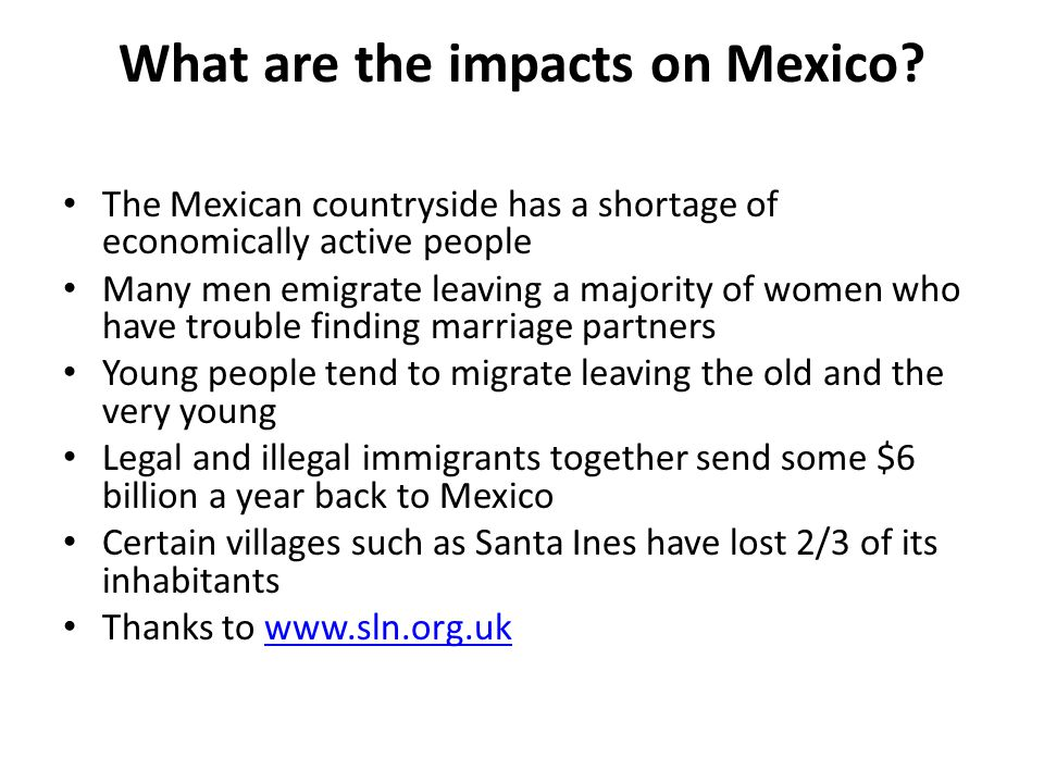 What are the impacts on Mexico