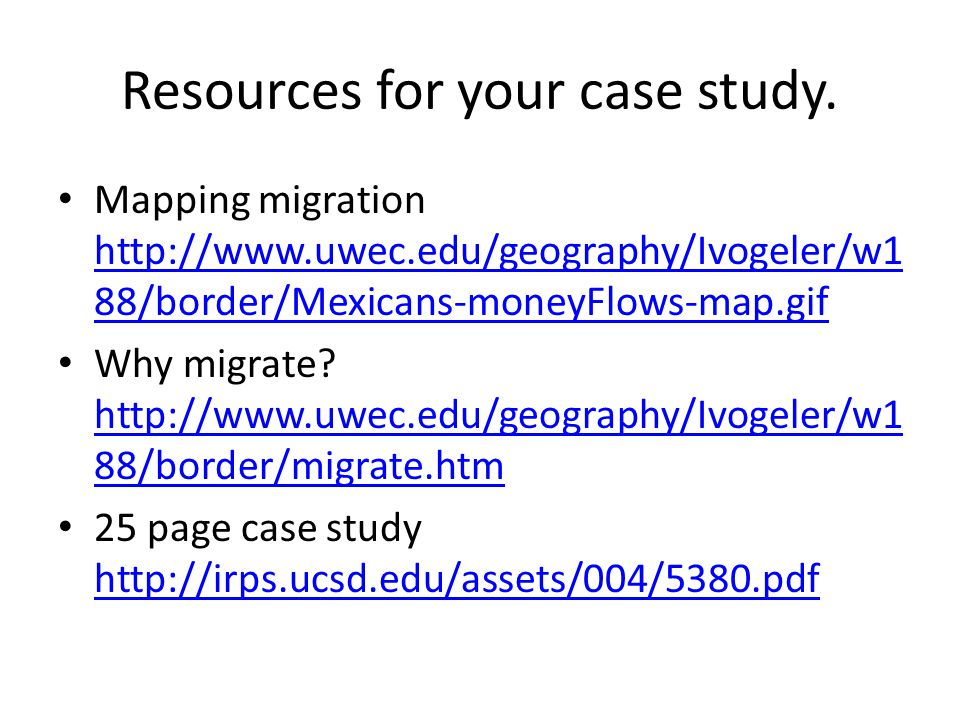 Resources for your case study.