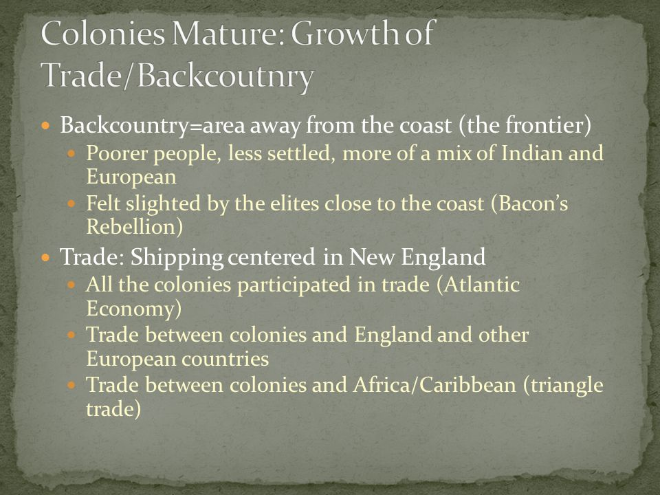 Colonies Mature: Growth of Trade/Backcoutnry