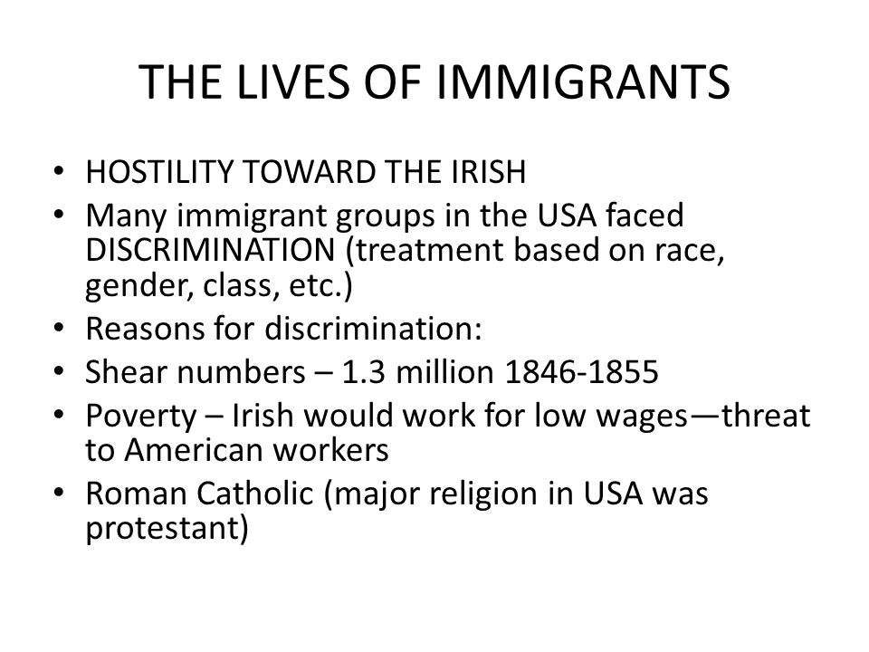 THE LIVES OF IMMIGRANTS