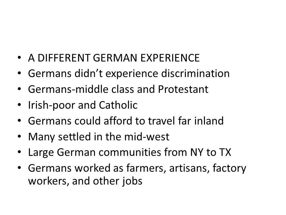 A DIFFERENT GERMAN EXPERIENCE